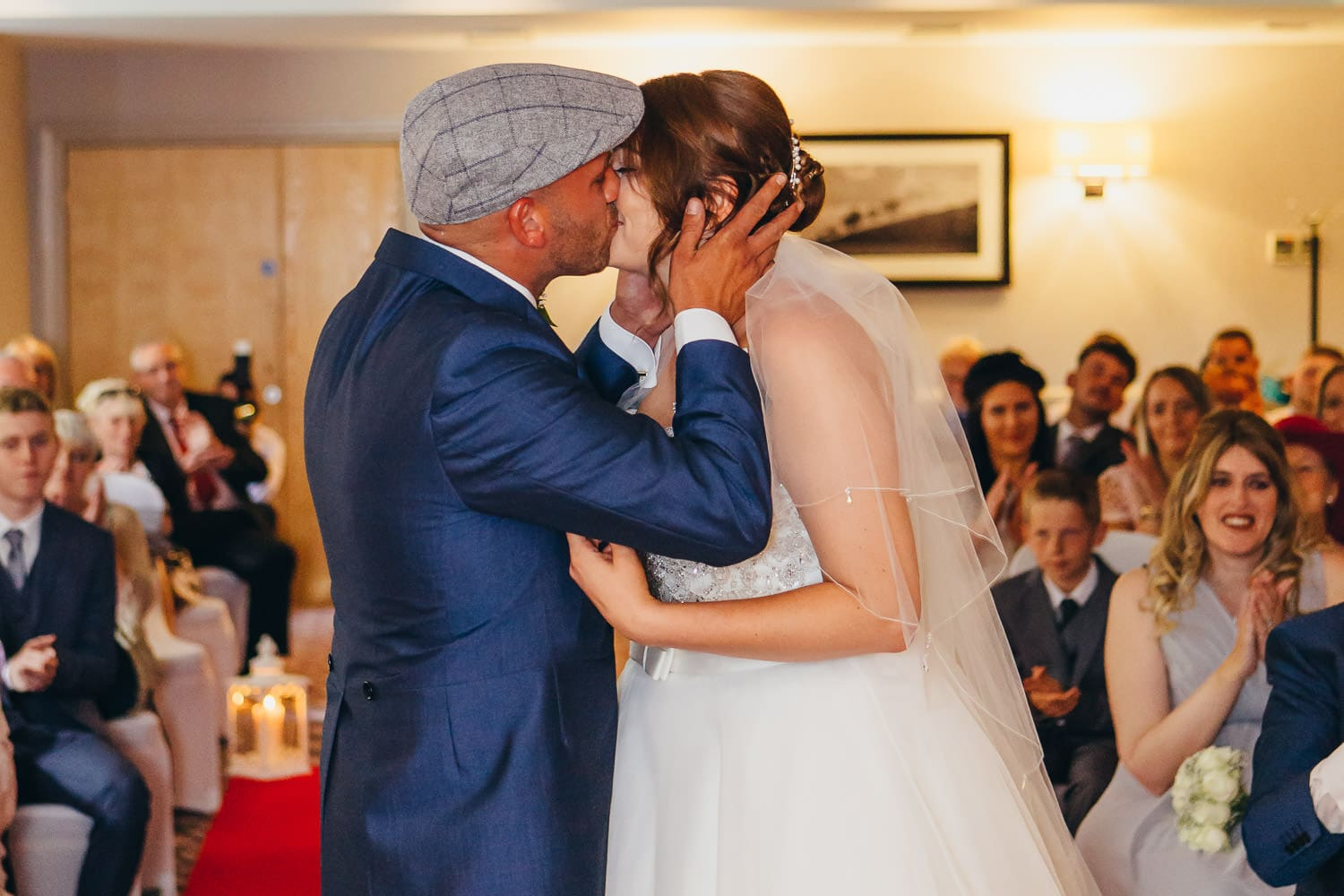 Warwickshire newly weds first kiss
