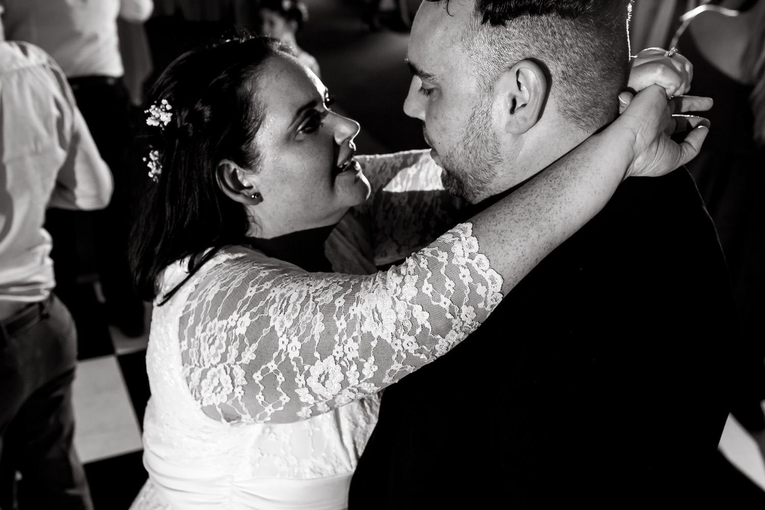 newly weds looking into each others eyes at warwick house wedding