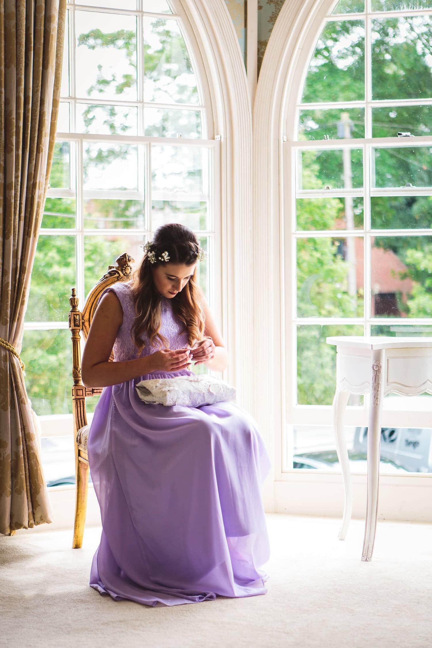 bridesmaid fixes broken nail in bridal suite at warwick house wedding