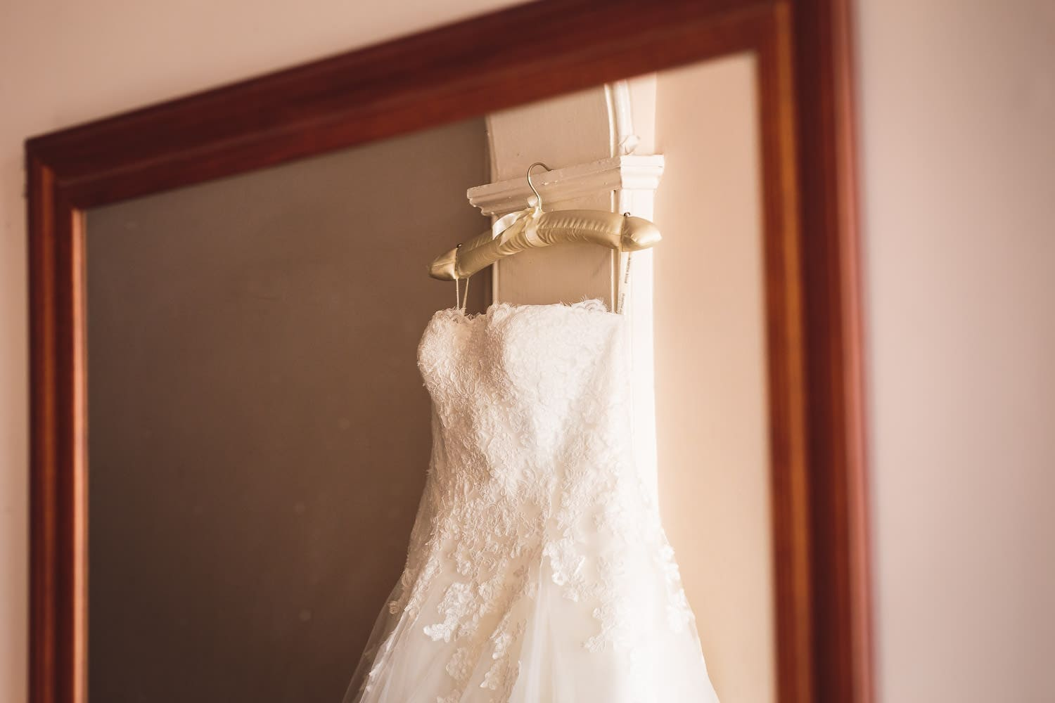 reflection of wedding dress in mirror by chapter one photography