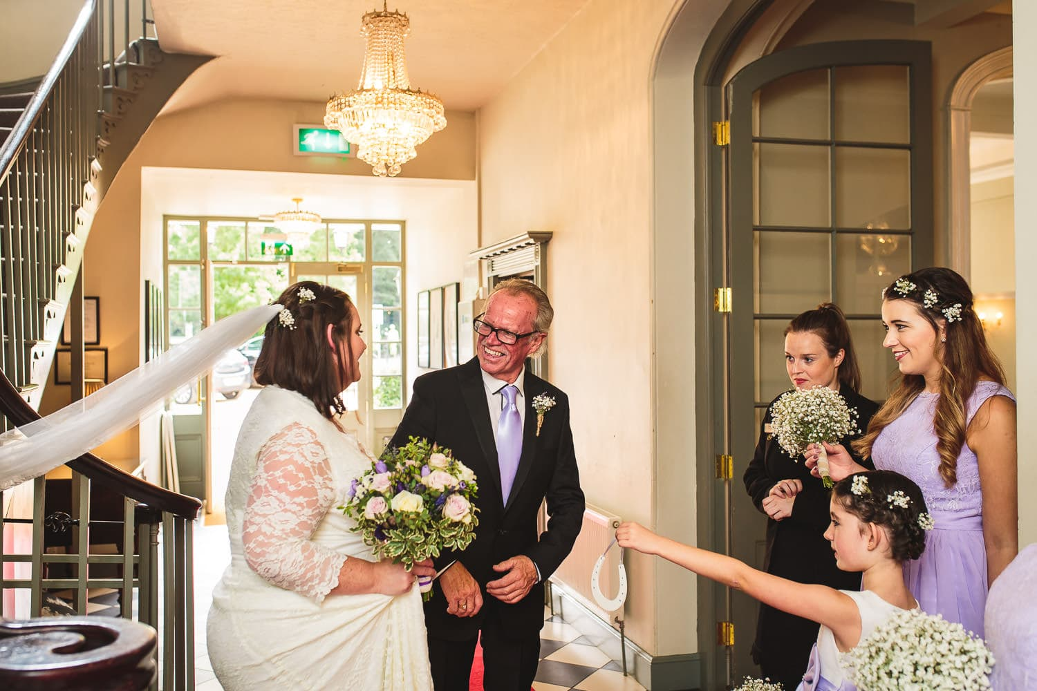 dad gets first look of beautiful daughter during warwick house wedding