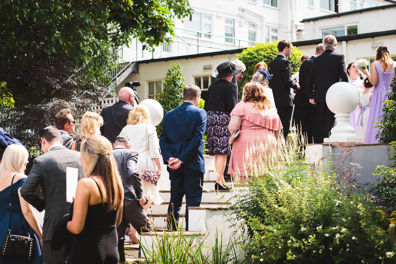 warwick house wedding guests line up to congratulate newlyweds