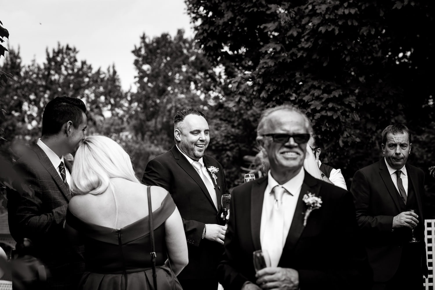 candid picture of father of the bride at warwick house wedding in uk