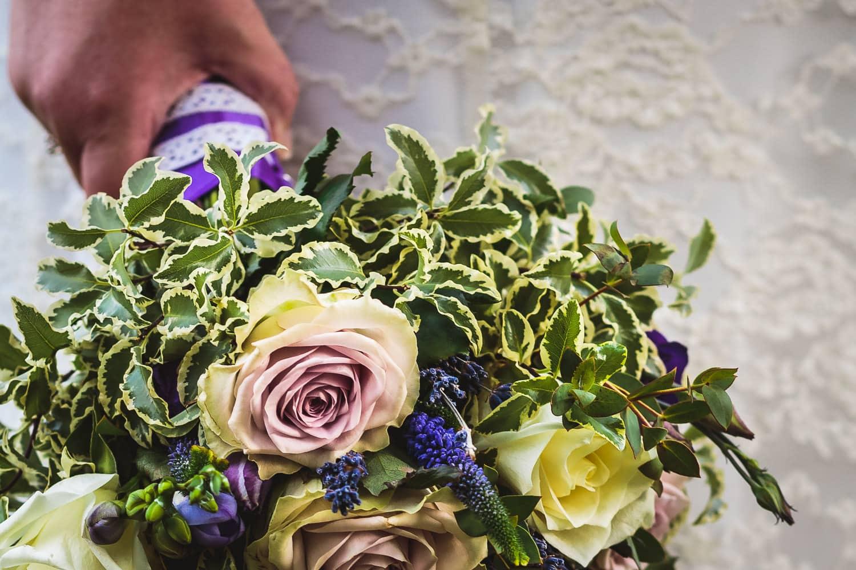 brides beautiful boquet at warwick house wedding in warwickshire