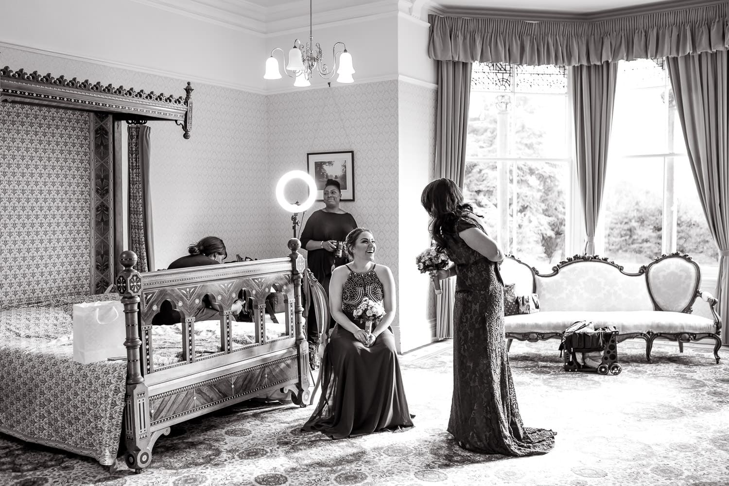 bridal party prepare for a wedding