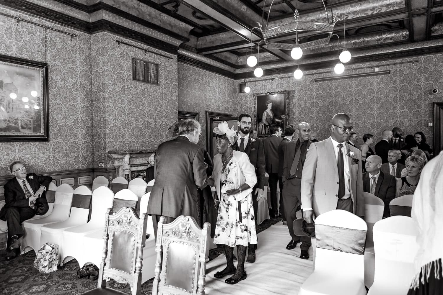 wedding guests greet each other at Highbury hall