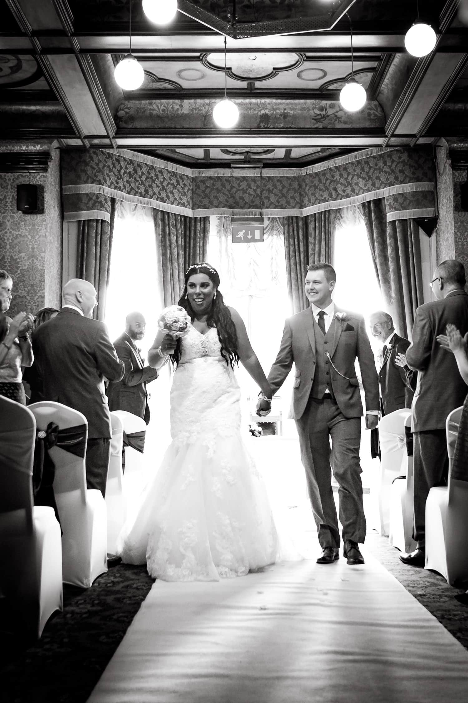 bride and groom recessional after ceremony