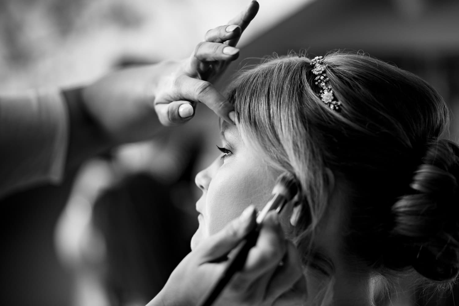 Warwick House Wedding Photography captures black & white picture during bridal preparations