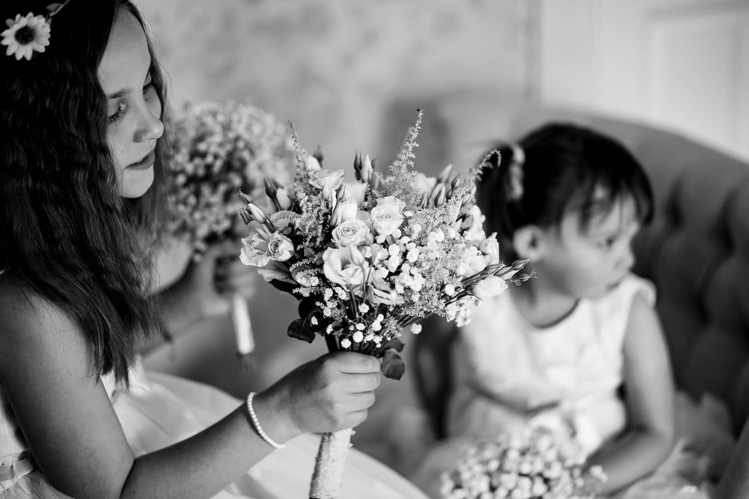 flowergirls with boquets by Warwick House Wedding Photography