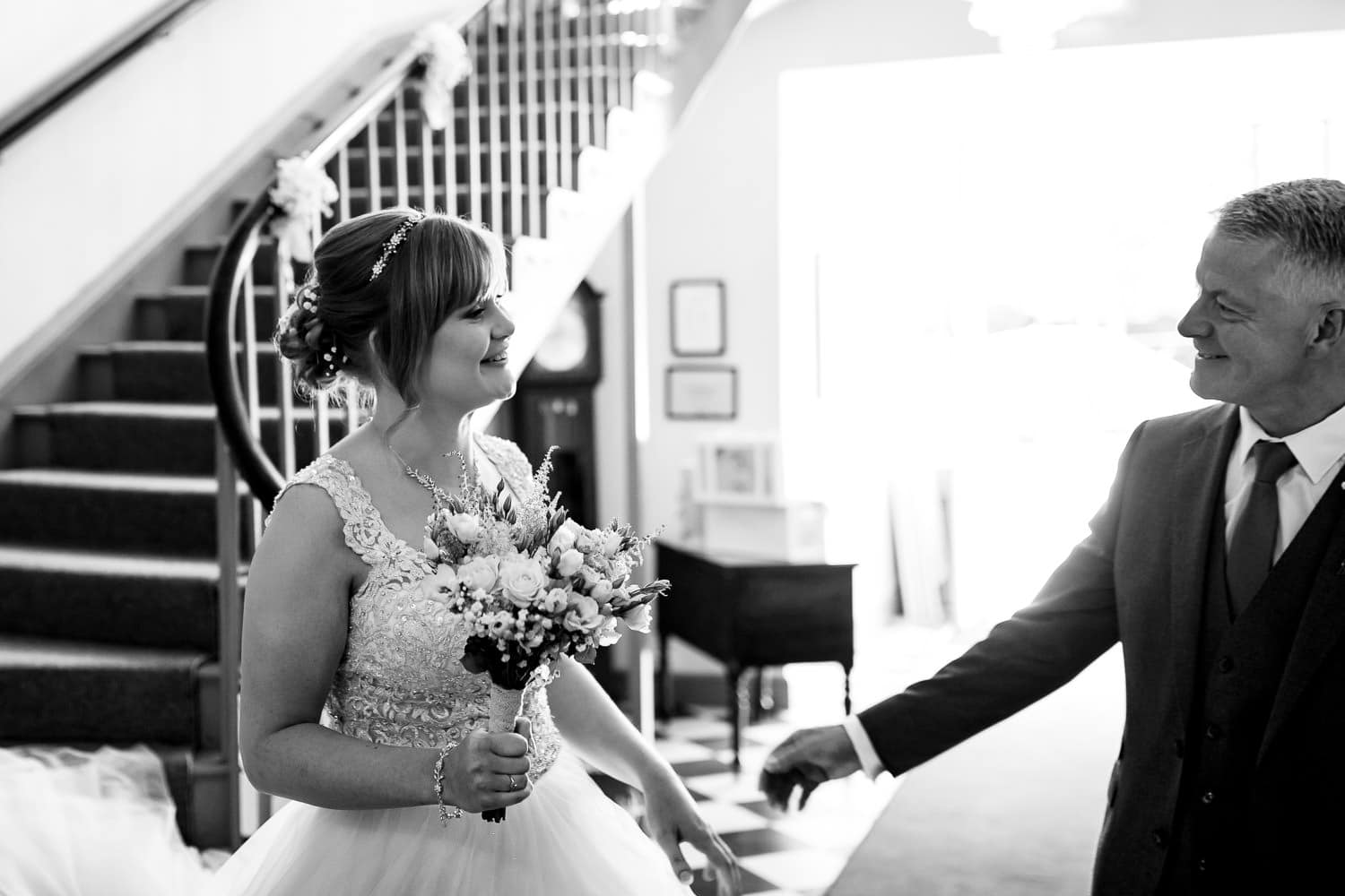 Warwick House Wedding Photography captures dads first look of his beautiful daughter