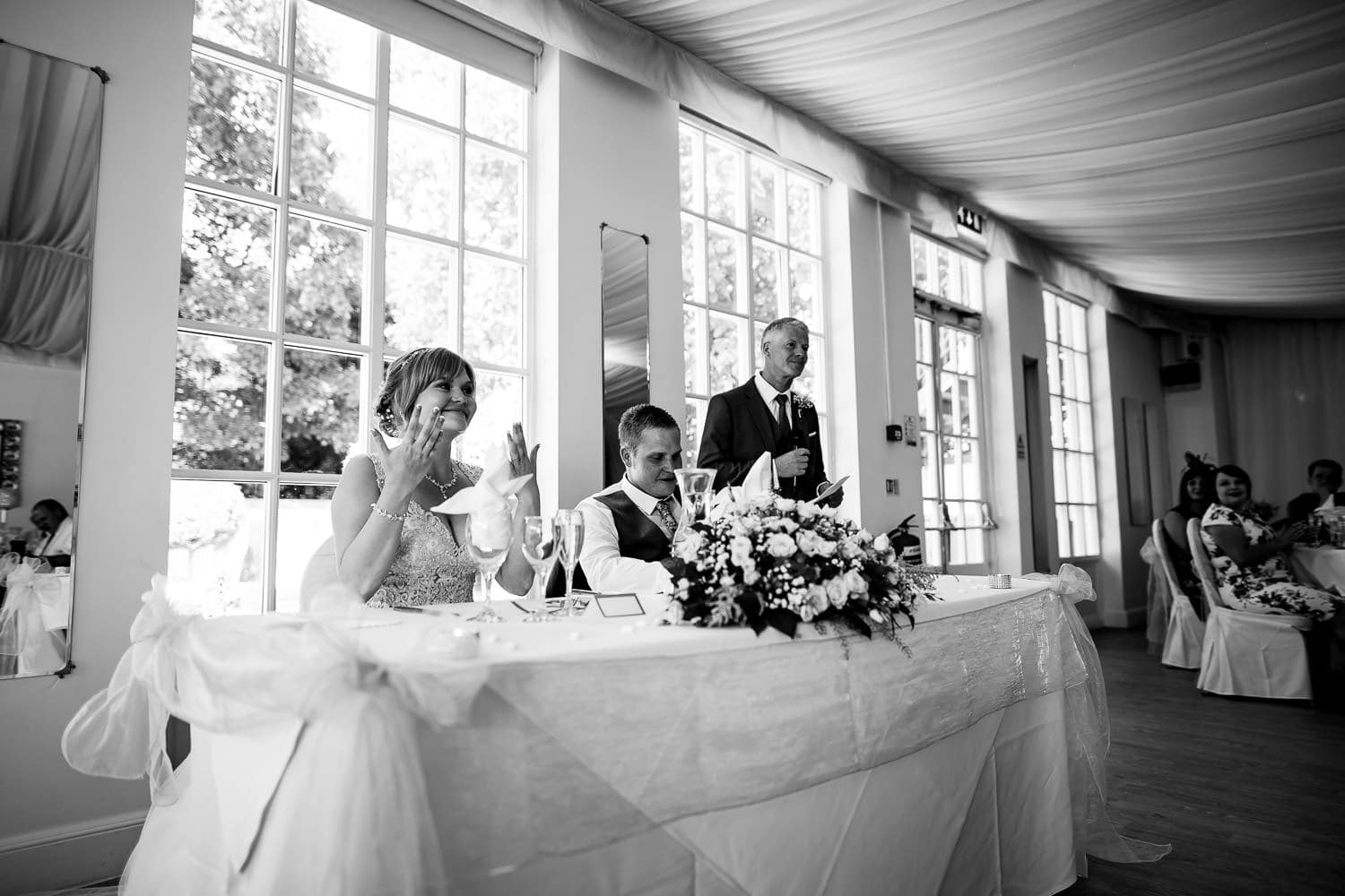 Warwick House Wedding Photography captures emotional bride during speeches