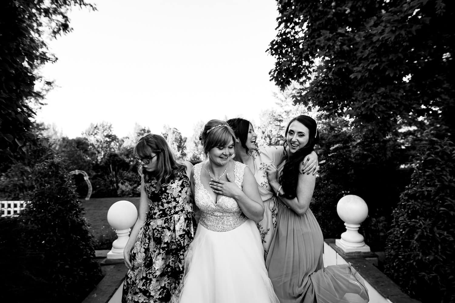 Warwick House Wedding Photography with beautiful bridal party in warwickshire