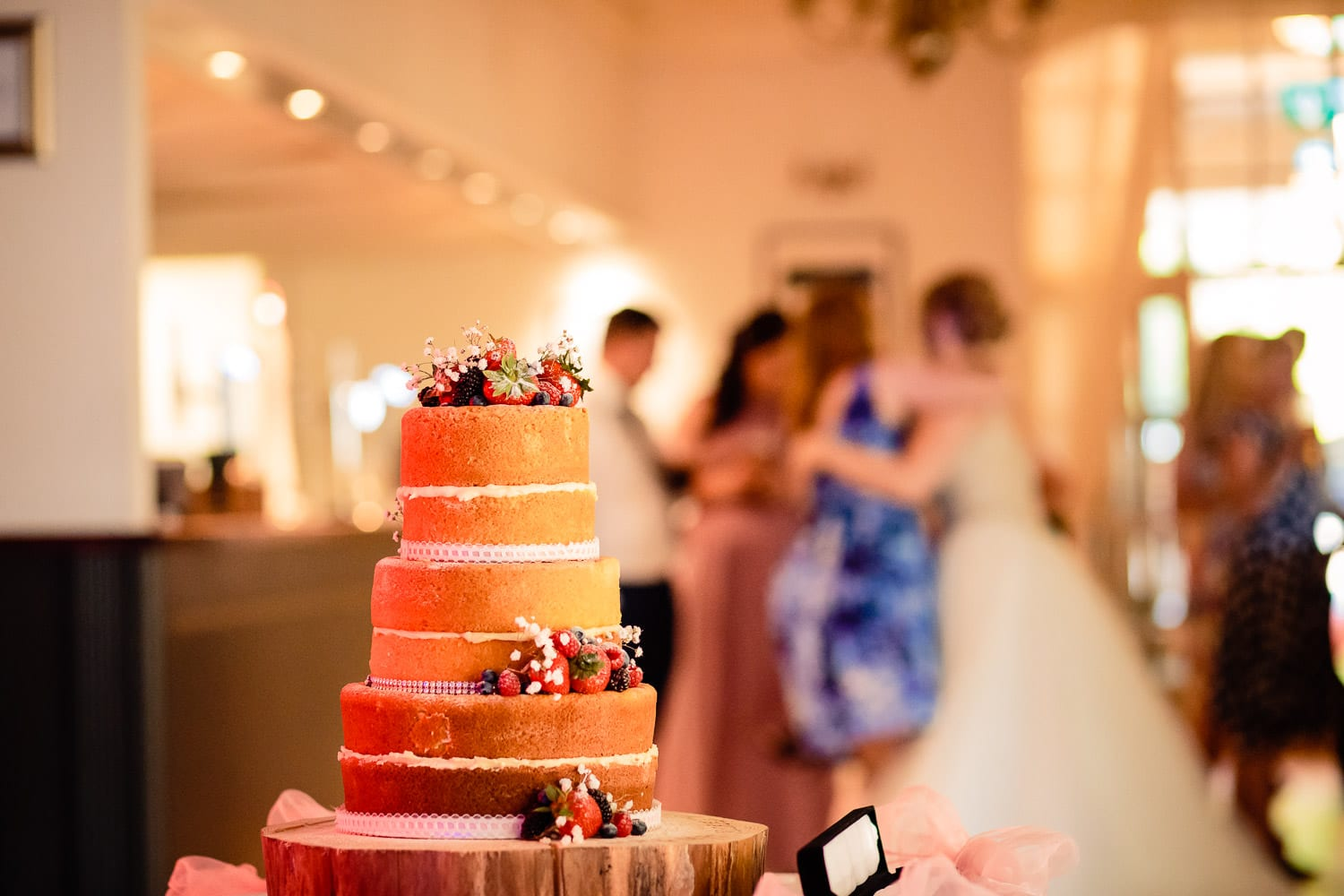 Warwick House Wedding Photography capures beautiful naked cake wedding cake with berries