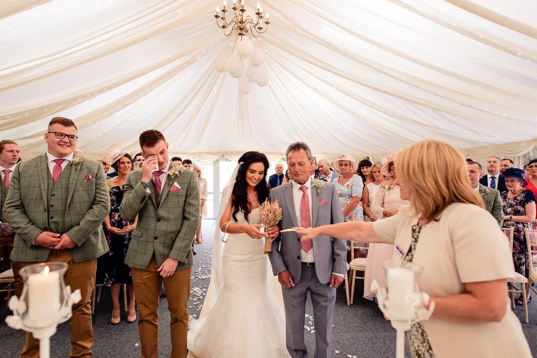 tearful groom at the Granary at Fawsley wedding barn