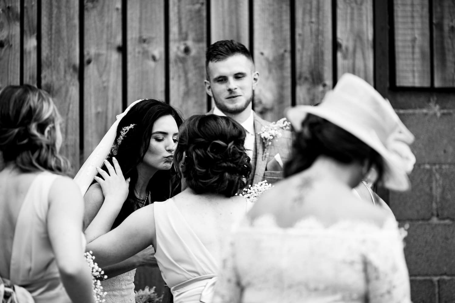 friends congratulate friends at The Granary at Fawsley Wedding
