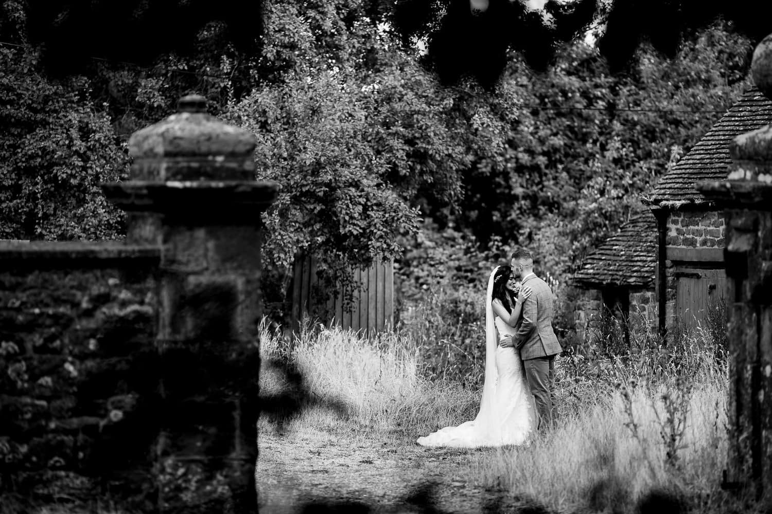 The Granary at Fawsley Wedding venue couple portraits
