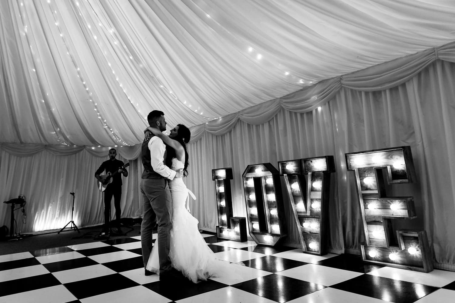 first dance at The Granary at Fawsley Wedding reception in northamptonshire