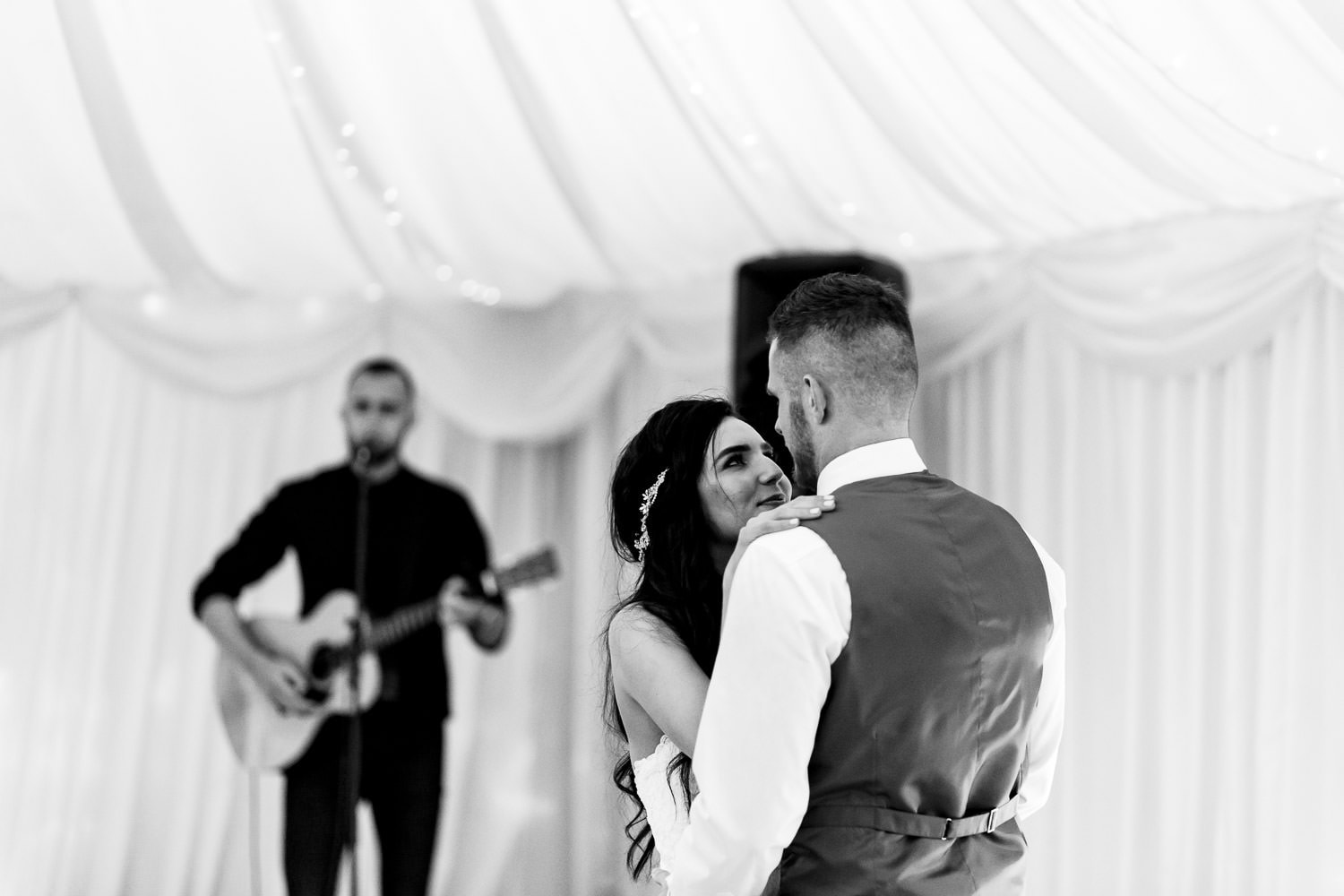 newlyweds first dance at The Granary at Fawsley Wedding barn