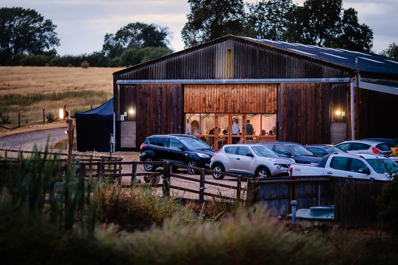 twilight at The Granary at Fawsley Wedding barn
